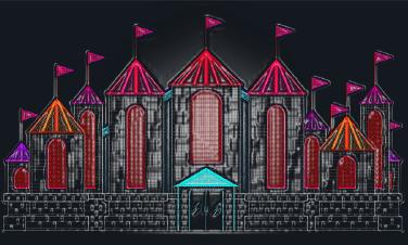 Vulcan Snow Park Fire Castle